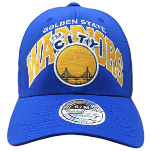 Embroidered on the front of the golden state warriors retro The City stretch fit cap is the golden state warriors logo embroidered in yellow, blue, and white