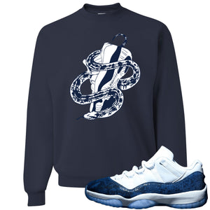 Jordan 11 Low Blue Snakeskin Snake Around Shoes Navy Blue Crewneck Sweater