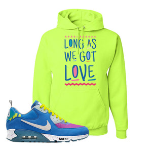 Undefeated x Air Max 90 Pacific Blue Sneaker Safety Green Pullover Hoodie | Hoodie to match Undefeated x Nike Air Max 90 Pacific Blue Shoes | Long As We Got Love