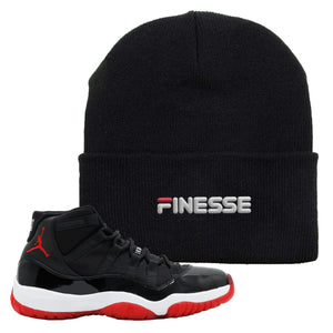 Jordan 11 Bred Finesse Black Sneaker Hook Up Beanie