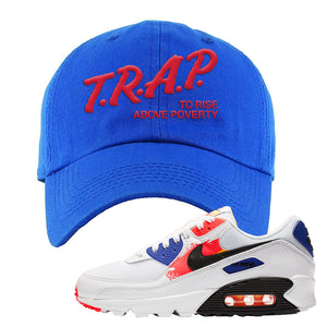 Air Max 90 Paint Streaks Dad Hat | Trap To Rise Above Poverty, Royal Blue