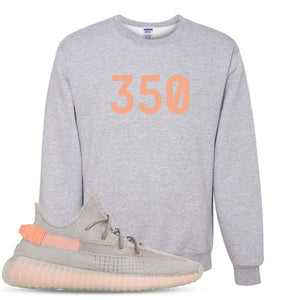 "Yeezy Boost 350 True Form V2 Sneaker Hook Up ""350"" Heathered Light Gray Crewneck Sweater"