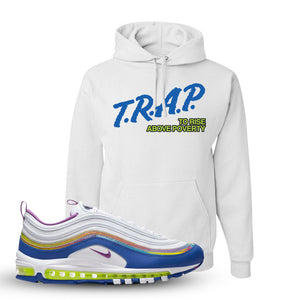 Air Max 97 'Easter' Sneaker White Pullover Hoodie | Hoodie to match Nike Air Max 97 'Easter' Shoes | Trap to Rise Above Poverty
