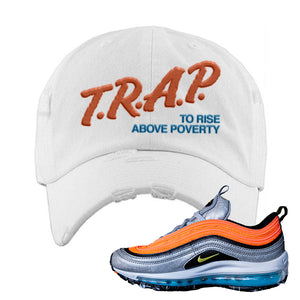 Air Max Plus Sky Nike Distressed Dad Hat | White, Trap To Rise Above Poverty