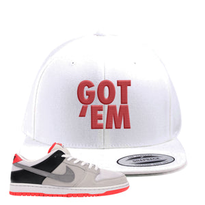 Nike SB Dunk Low Infrared Orange Label Got Em White Snapback Hat To Match Sneakers
