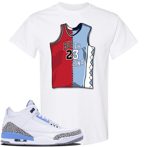 Jordan 3 UNC Sneaker White T Shirt | Tees to match Nike Air Jordan 3 UNC Shoes | Half UNC Half Bulls
