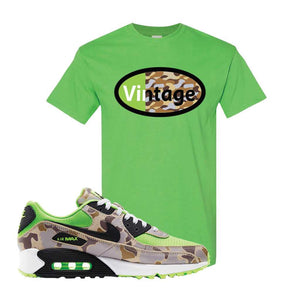 Air Max 90 Duck Camo Ghost Green T Shirt | Electric Green, Vintage Oval