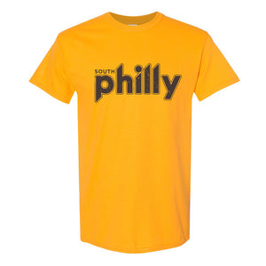 South Philly Vintage T-Shirt | South Philadelphia Retro Gold Tee Shirt the front of this shirt has the south philly logo