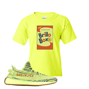 Brillo Box Safety Green Kid's T-Shirt to match Yeezy Boost 350 V2 Frozen Yellow Sneaker