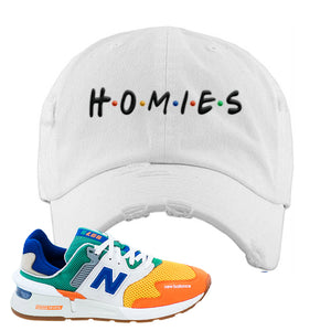 997S Multicolor Sneaker White Distressed Dad Hat | Hat to match New Balance 997S Multicolor Shoes | Homies