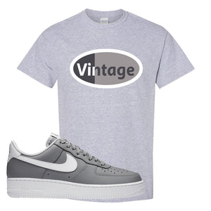 Air Force 1 Low Wolf Grey White T Shirt | Sport Grey, Vintage Oval