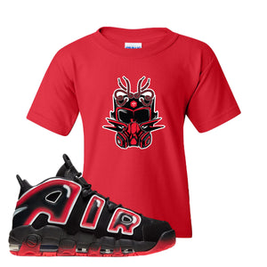 Air More Uptempo Laser Crimson Kid's T Shirt | Red, Sneaker Mask