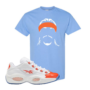 Question Low Vivid Orange T-Shirt | Headband Corn Rows, Carolina Blue