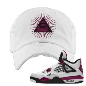 Air Jordan 4 PSG Paname Distressed Dad Hat | All Seeing Eye, White