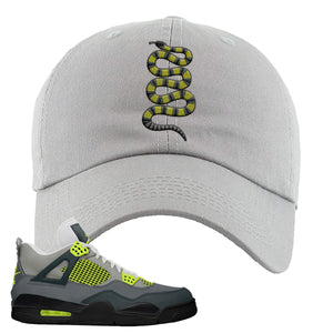 Jordan 4 Neon Sneaker Light Gray Dad Hat | Hat to match Nike Air Jordan 4 Neon Shoes | Coiled Snake