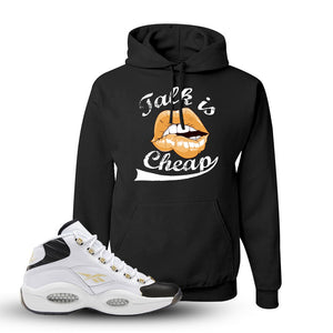 Question Mid Black Toe Sneaker Black Pullover Hoodie | Hoodie to match Reebok Question Mid Black Toe Shoes | Talk Is Cheap