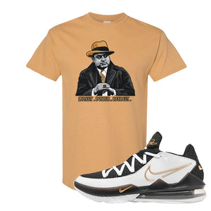 Lebron 17 Low White/Metallic Gold/Black T Shirt | Old Gold, Capone Illustration
