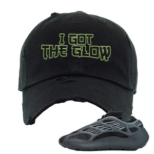 Yeezy Boost 700 V3 Alvah Sneaker Black Distressed Dad Hat | Hat match Adidas Yeezy Boost 700 V3 Alvah Shoes | I Got The Glow