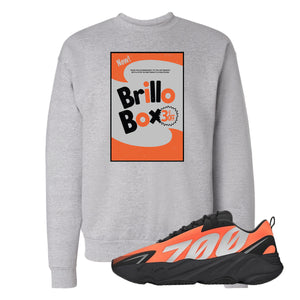 Brillo Box Light Steel Crewneck Sweatshirt to match Yeezy Boost 700 MNVN Orange Sneaker