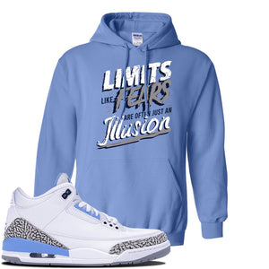 Jordan 3 UNC Sneaker Carolina Blue Pullover Hoodie | Hoodie to match Nike Air Jordan 3 UNC Shoes | Limits Like Fears