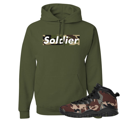 Jordan 10 Woodland Camo Sneaker Matching Soldier Camo Box Logo Military Green Pullover Hoodie