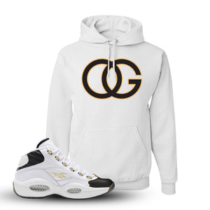 Question Mid Black Toe Sneaker White Pullover Hoodie | Hoodie to match Reebok Question Mid Black Toe Shoes | OG
