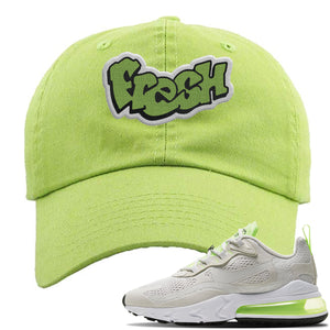 Air Max 270 React Ghost Green Sneaker Lime Green Distressed Dad Hat | Hat to match Nike Air Max 270 React Ghost Green Shoes | Fresh
