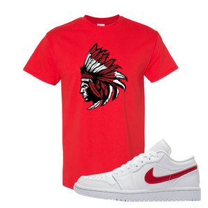 Air Jordan 1 Low White and Varsity Red T Shirt | Indian Chief, Red