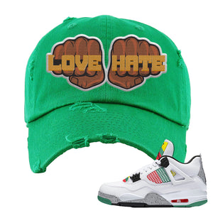Jordan 4 WMNS Carnival Sneaker Red Dad Hat | Hat to match Do The Right Thing 4s | Love Hate Fist