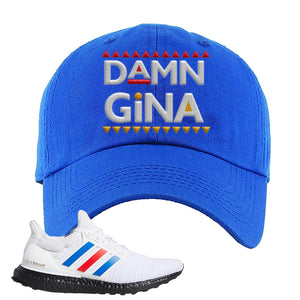 Ultra Boost White Red Blue Dad Hat | Royal Blue, Damn Gina