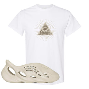 Yeezy Foam Runner Sand T Shirt | All Seeing Eye, White