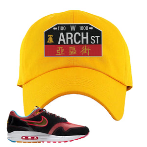 Air Max 1 NYC Chinatown Arch Street Philadelphia Gold Dad Hat To Match Sneakers