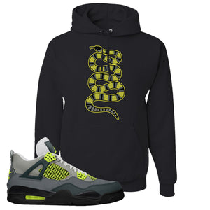 Jordan 4 Neon Sneaker Black Pullover Hoodie | Hoodie to match Nike Air Jordan 4 Neon Shoes | Coiled Snake