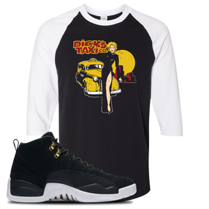Dick's Taxi Co Black/White Baseball Tee To Match Jordan 12 Reverse Taxi Sneakers