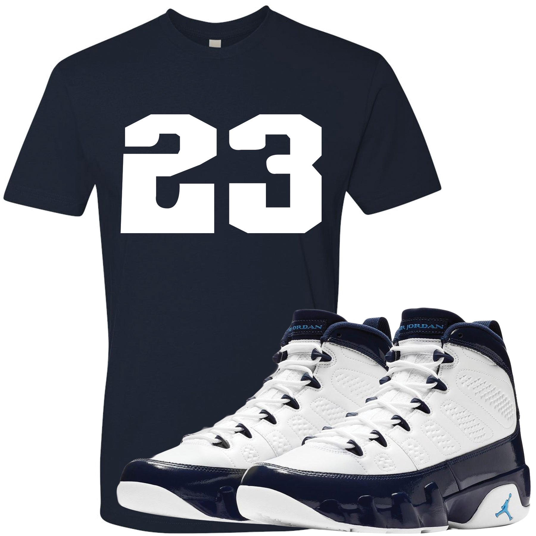 c6042b9f672f Match your pair of Jordan 9 UNC All Star Blue Pearl sneakers with this  sneaker matching