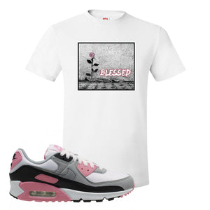 WMNS Air Max 90 Rose Pink Blessed Rose White T-Shirt To Match Sneakers