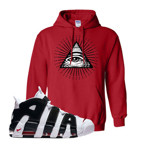 Air More Uptempo White Black Red Hoodie | Red, All Seeing Eye