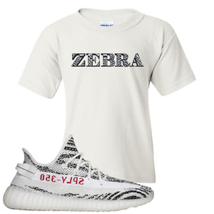 Yeezy Boost 350 V2 Zebra Zebra White Sneaker Hook Up Kid's T-Shirt