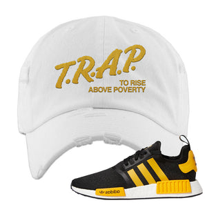 NMD R1 Active Gold Distressed Dad Hat | White, Trap To Rise Above Poverty