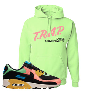 Furry Air Max 90 Bright Neon Pullover Hoodie | Trap To Rise Above Poverty, Neon Green