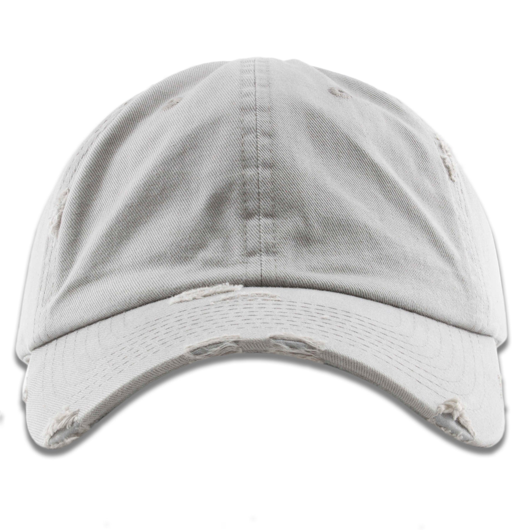 8df4c5138d363e The light gray distressed blank baseball cap has a soft unstructured crown  and a bent brim
