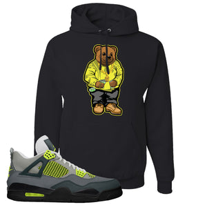 Jordan 4 Neon Hoodie | Black, Sweater Bear