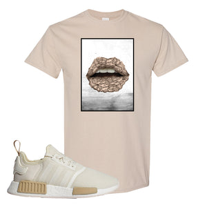 NMD R1 Chalk White Sneaker Sand T Shirt | Tees to match Adidas NMD R1 Chalk White Shoes | Rose Lips