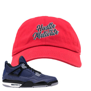 Jordan 4 WNTR Loyal Blue Hustle And Motivate Red Sneaker Hook Up Dad Hat