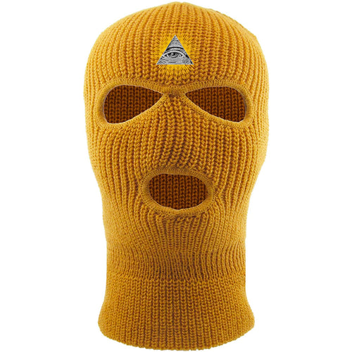 Embroidered on the forehead of the timberland pyramid ski mask is the all seeing eye logo embroidered in white, black, and gold