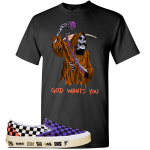 Vans Slip On Venice Beach Pack T Shirt | Black, GOD Wants You Reaper