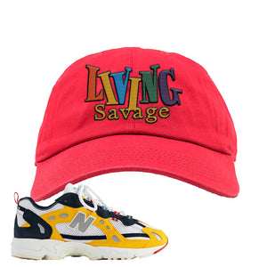 827 Abzorb Multicolor Yellow Aime Leon Dore Sneaker Red Dad Hat | Hat to match 827 Abzorb Multicolor Yellow Aime Leon Dore Shoes | Living Savage