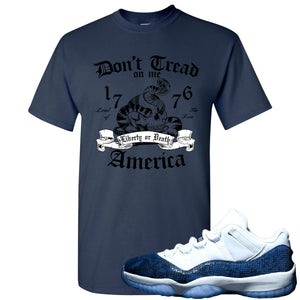 Jordan 11 Low Blue Snakeskin Don't Tread On Me Snake Navy Blue T-Shirt