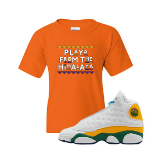 Playa From the Himalaya Safety Orange Kid's T-Shirt to match Air Jordan 13 GS Playground Kids Sneaker