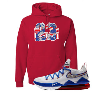 LeBron 17 Low Tune Squad Sneaker True Red Pullover Hoodie | Hoodie to match Nike LeBron 17 Low Tune Squad Shoes | 23X45